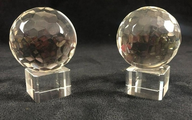 Feng Shui Glass Balls Pair Faceted Crystal Prism