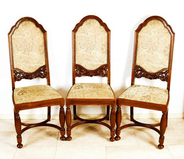 Five antique German oak dining room chairs with cross