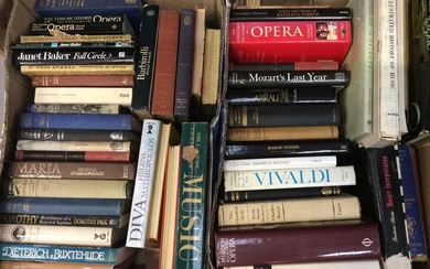 Five boxes of mixed books