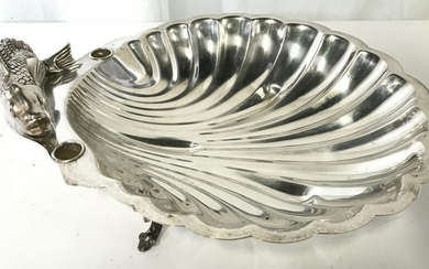Footed Silver Plated Shell Platter