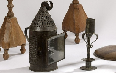 Four tin lighting fixtures including a cottage lantern,...