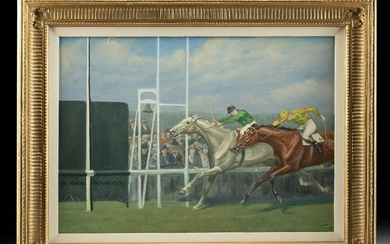 Framed & Signed British Painting of Horse Race (1924)