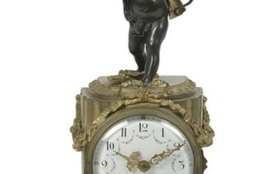 French Belle Epoque Bronze & Marble Figural Clock