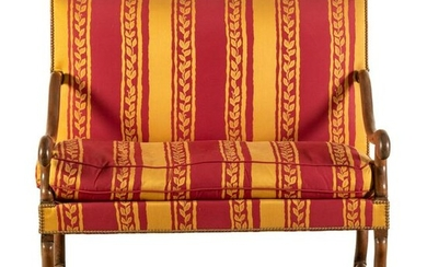 French Country Silk Feather Top Love Seat Sofa