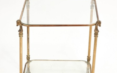 French Empire Style 2-Tier Metal Side Table