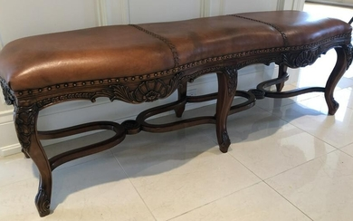 French Provencal Carved Leather Hall Way Bench