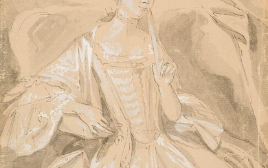 French School, mid-late 18th century- Portrait of a lady holding...