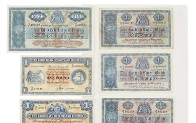 G.B - The National Bank of Scotland, Union Bank of Scotland, British Linen Bank - A collection of banknotes