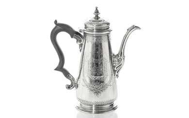 GEORGE II SILVER COFFEE POT, 835g