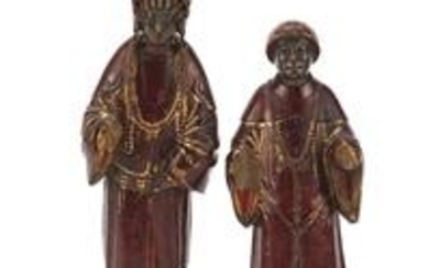 Good pair of Chinese lacquered carved wood figures, the