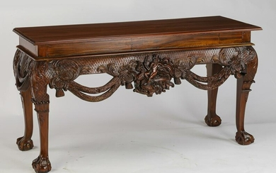 "Highly carved mahogany console, 59""w"