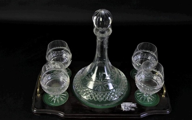 Irish Galway Crystal Ships Decanter, With A Set of Four Galway Brandy Glasses On A Tray (Decanter H: 28cm Tray L 53cm)