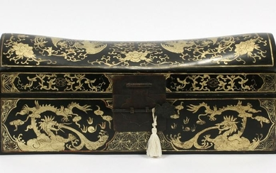 "JAPANESE LACQUER PILLOW BOX, 19TH C, H 7"", W 16"""