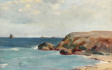 Jalmari Ruokokoski: A view of a rocky coast with a lighthouse in the distance. Signed and dated J. Ruokokoski 1934. Oil on canvas. 39×51 cm.