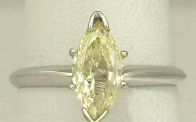 LADIES 14K WHITE GOLD .98ct SOLITAIRE YELLOW MARQUISE
