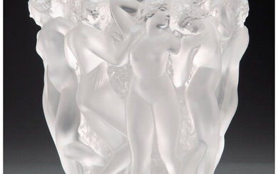 Lalique Clear and Frosted Glass Bacchantes Vase (post-1945)