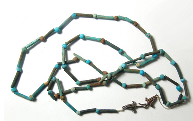 Large Egyptian beaded necklace with lotus shaped clasps