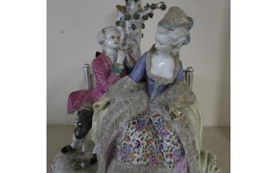 Large Meissen ceramic group of a courting couple on park ben...