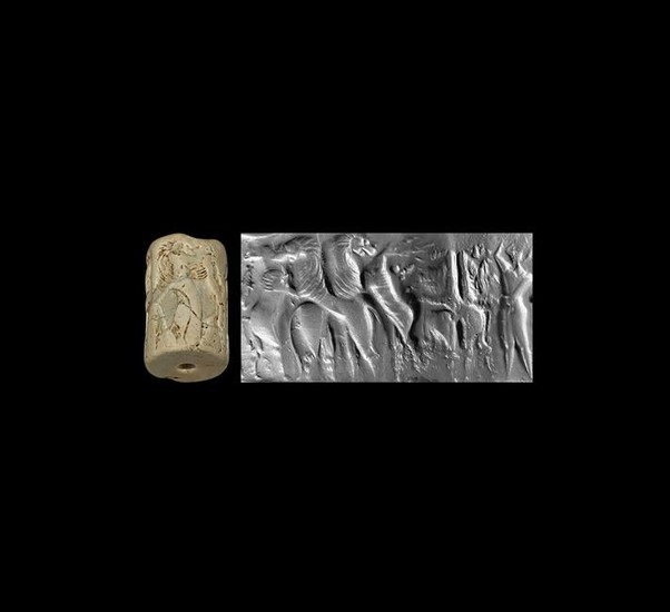 Large Sumerian Cylinder Seal with Bullmen