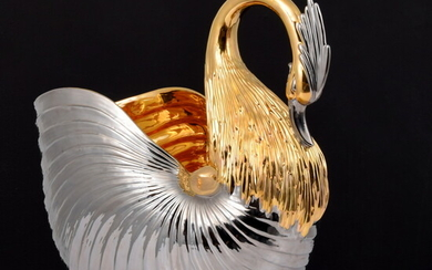 Large Two-Tone Swan Vessel, Manner of Buccellati