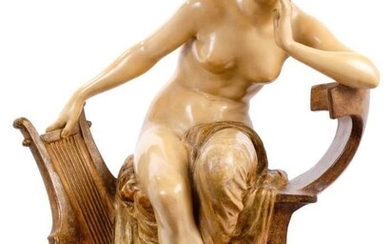 Large and impressive Goldscheider figure of a partially robed maiden, seated with a harp by her side, 62cm height