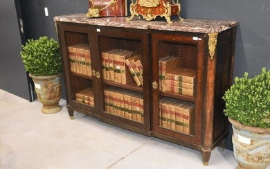 Louis XV 3 door enfilade/wired library with 3...
