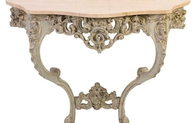 Louis XV Style Marble Top Console Table