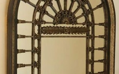 MAITLAND SMITH ARCHED WOOD & METAL MIRROR