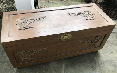 Mid Century Chinese Motif Hand Carved Trunk