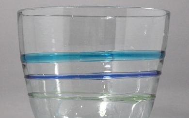 Mid-Century Modern Clear Glass Vase Blue Applied Ribs