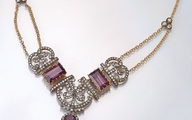 Necklace with diamonds and amethysts , silver...