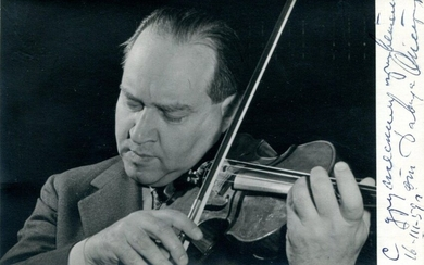OISTRAKH DAVID: (1908-1974) Russian Violinist and Conductor. One of the most important violinists of the 20th century, who was the dedicatee of works by Shostakovich and Khachaturian. Signed and inscribed 5.5 x 3.5 photograph, the image depicting...