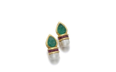 PAIR OF MABÉ PEARL, EMERALD AND RUBY EAR CLIPS, BENOIT DE GORSKI