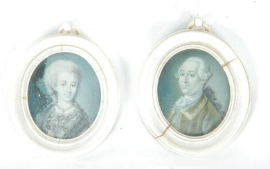 PAIR OF MINIATURE FRENCH PORTRAITS.