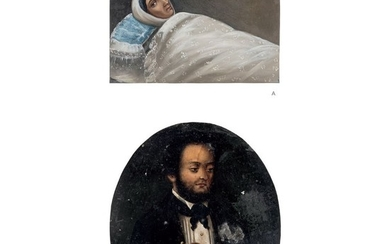 PAIR OF MINIATURE PORTRAITS. MEXICO, 19th Century. Oil on zinc plaque.