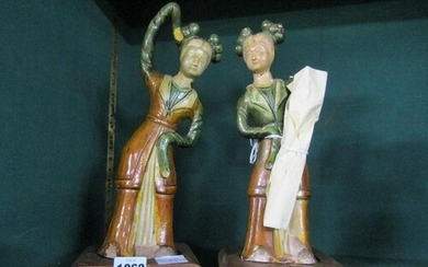 PAIR OF ORIENTAL TANG? GLAZED POTTERY FIGURES ON BASES, 32CM...