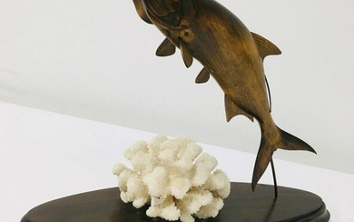 PETER COSTELLO CARVED WOOD SCULPTURE - TARPON #008