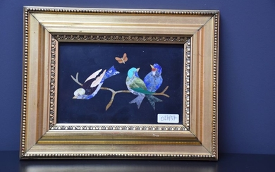 PIETRA DURA PLATE EARLY 20TH CENTURY WITH BIRDS...