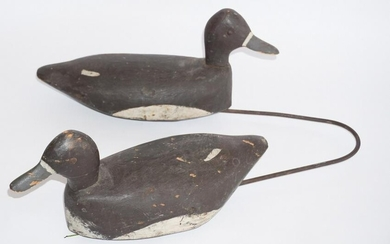 Pair Antique Carved & Painted Laying Ducks