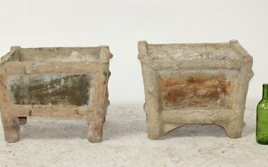 Pair French faux bois garden planters