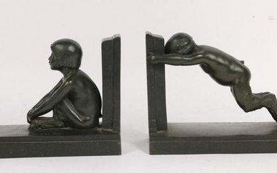 Pair Patinated Bronze Bookends Paul Silvestre