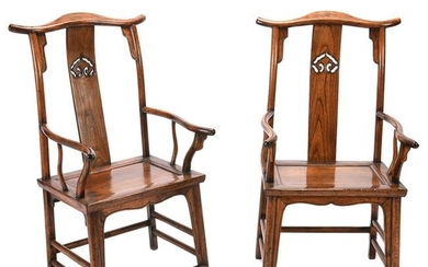 Pair of Chinese Elmwood Armchairs.