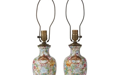 Pair of Chinese design millefleurs famille rose vases mounted...