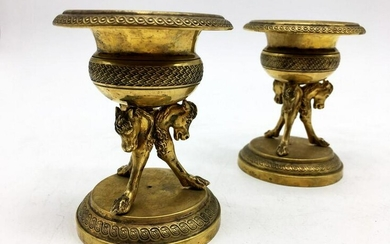 Pair of Classical Style Brass Footed Bowls