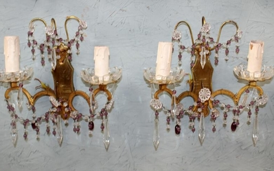 Pair of French beaded wall sconces