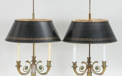 Pair of French bronze three light bouillotte lamps