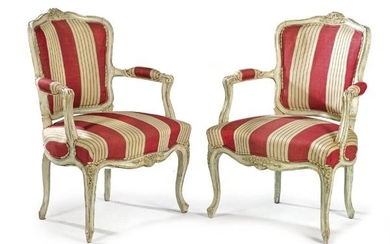 Pair of Louis XV armchairs in carved and lacquered