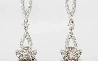 Pair of Platinum Pendant Earrings, each with a pierced