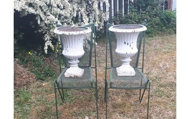 Pair of Victorian cast iron urns {50 cm H x 38 cm Dia.}.
