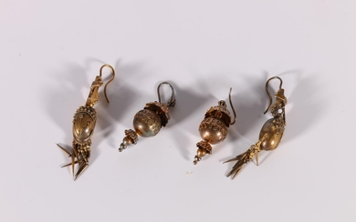 Pair of Victorian gold drop earrings of beaded umbrella form...
